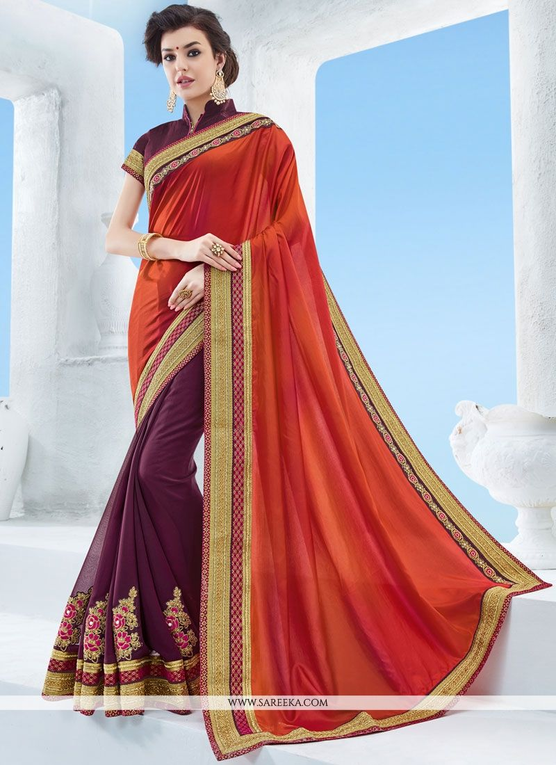 Orange and Wine Art Silk Half N Half Designer Saree