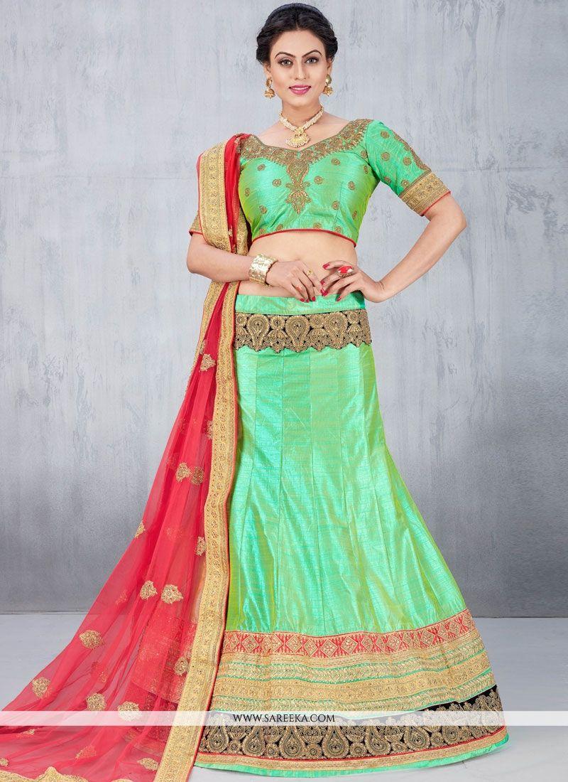 e3849417bb Buy Online Beauteous Sea Green Lace Work Lehenga Choli : 59336 -