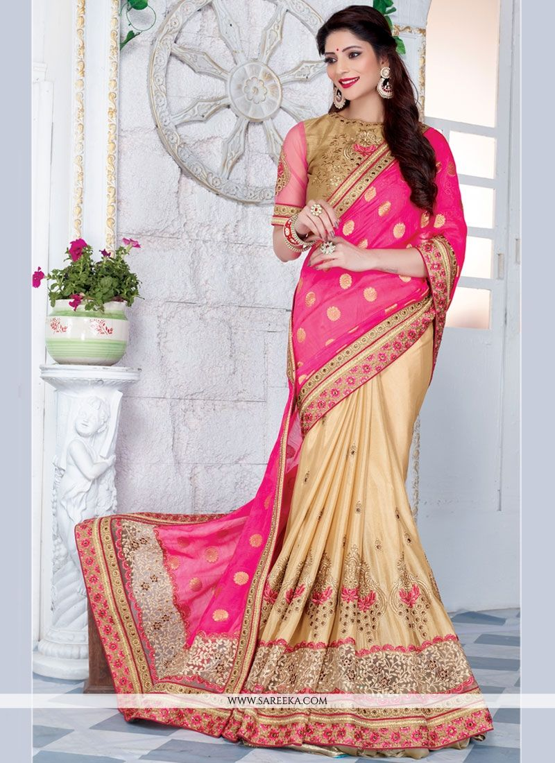 Art Silk Beige and Rose Pink Half N Half Trendy Saree