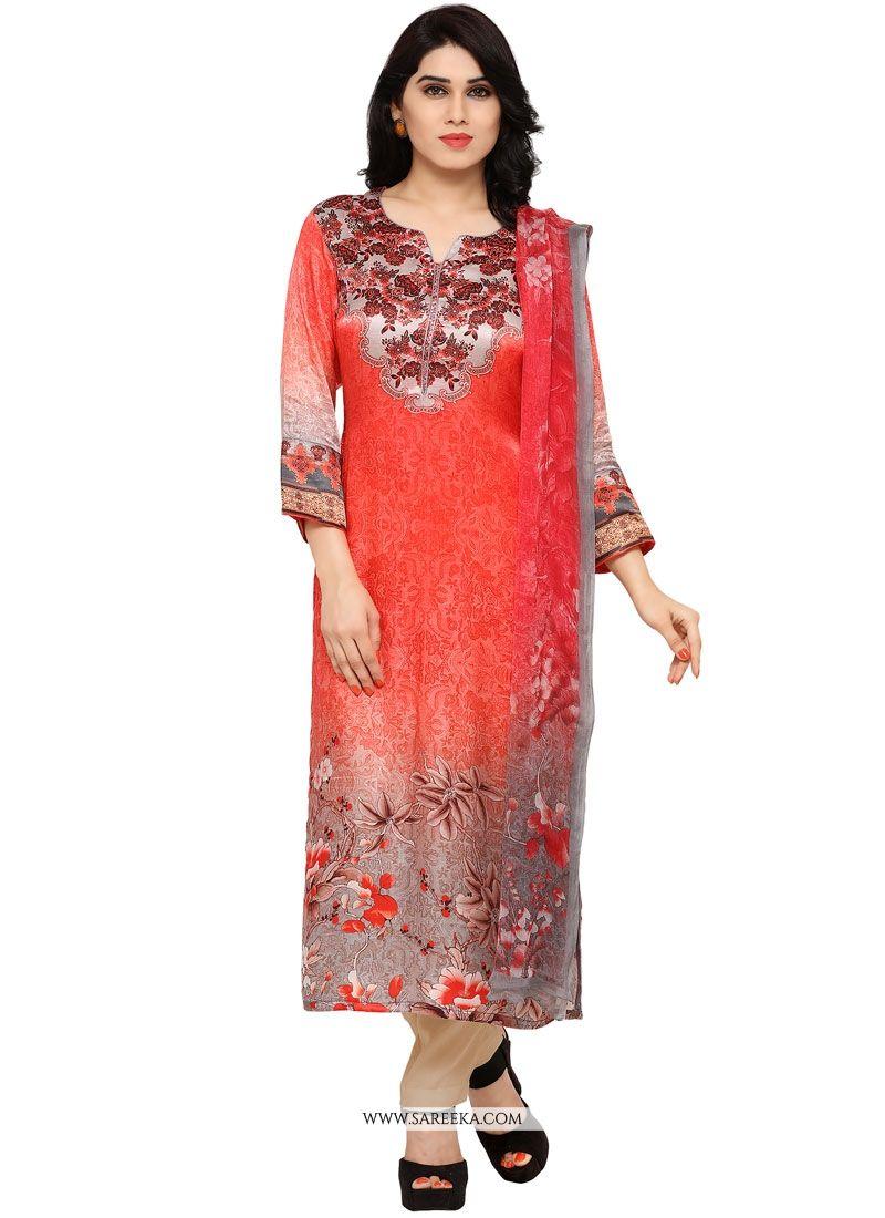 Art Silk Digital Print Work Churidar Designer Suit