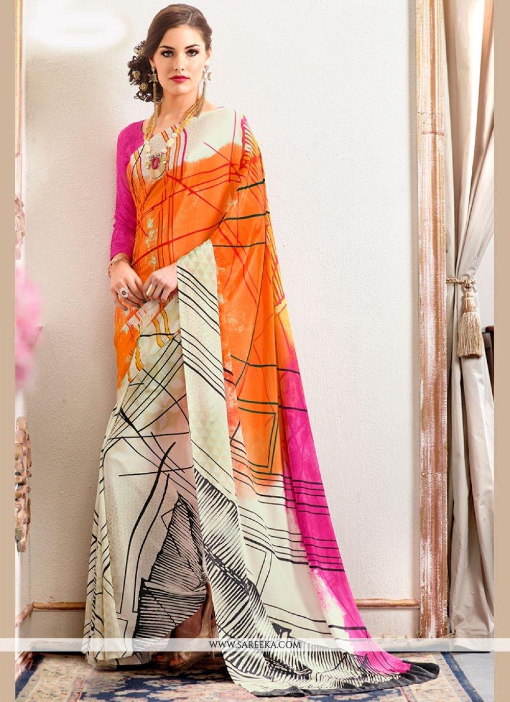 Faux Crepe Multi Colour Printed Saree