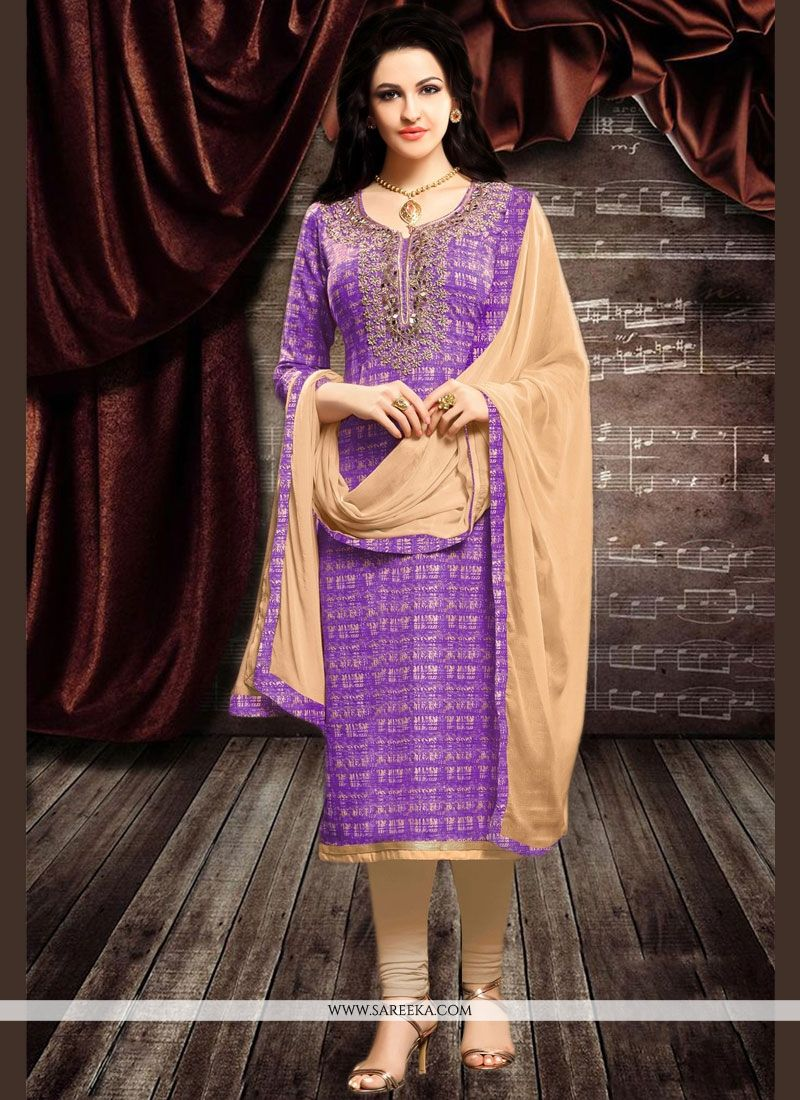 Lavender Cotton   Churidar Designer Suit