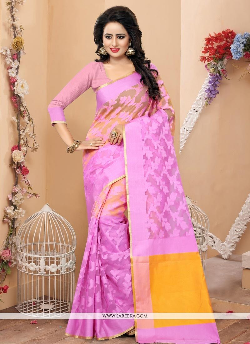 Pink Weaving Work Banarasi Silk Traditional  Saree