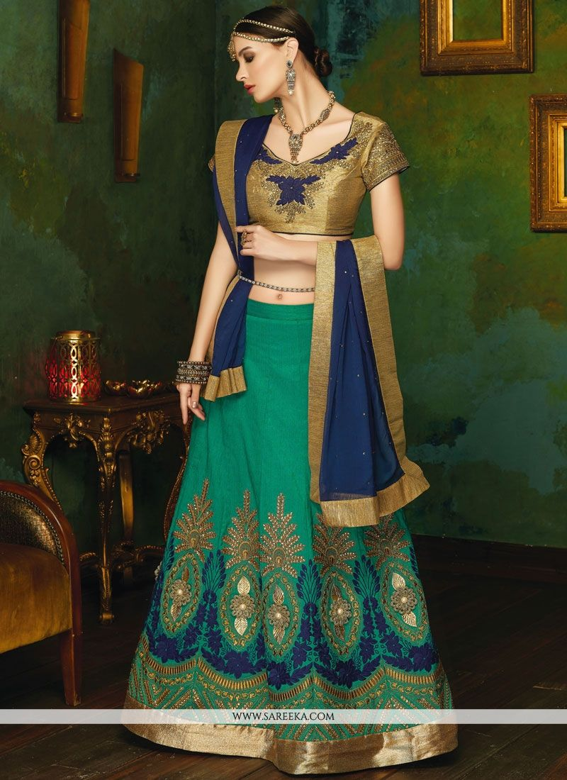 Navy Blue and Sea Green Patch Border Work Art Silk Lehenga Choli