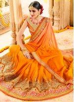 Orange Net Classic Designer Saree