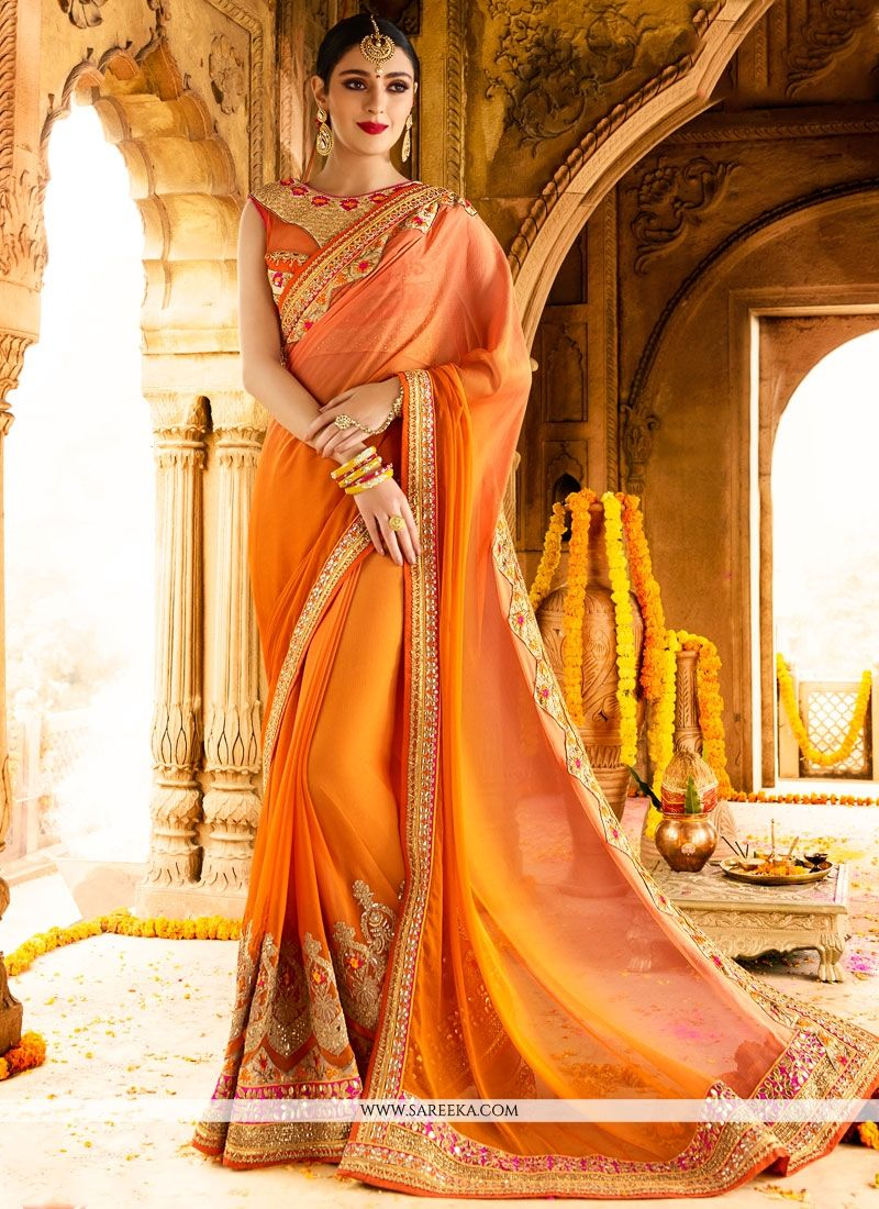 Orange Net Classic Designer Saree