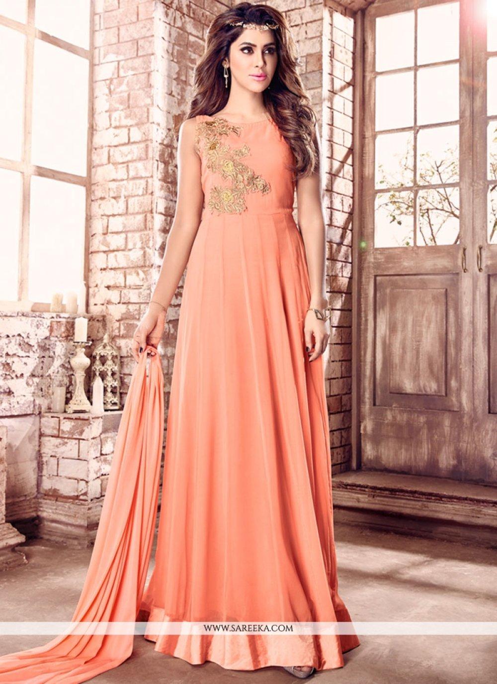 Peach Faux Georgette Designer Floor Length Salwar Suit