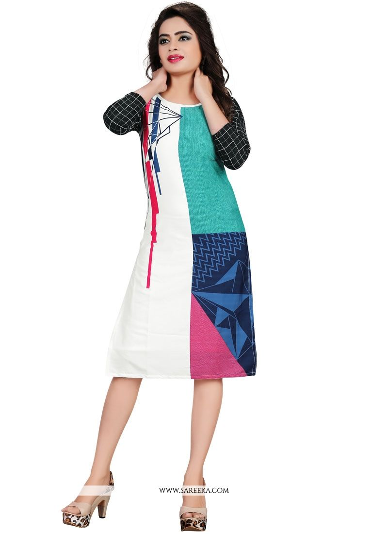 Print Work Faux Crepe Party Wear Kurti