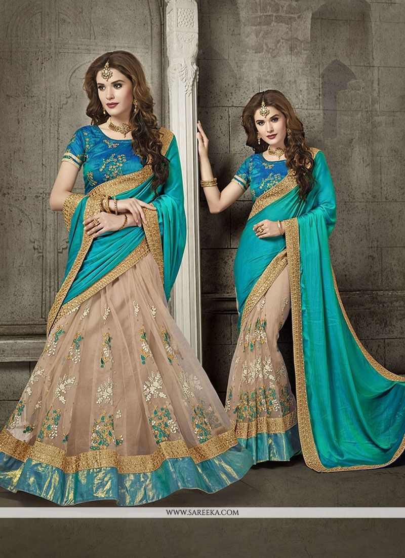 beige and blue patch border work art silk designer half n half saree