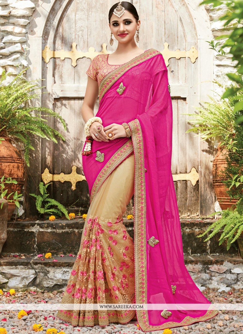 Beige and Hot Pink Net Designer Half N Half Saree