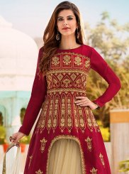 Beige and Maroon Long Choli Lehenga