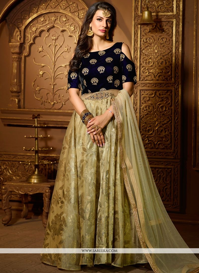 Beige and Navy Blue Velvet Readymade Suit