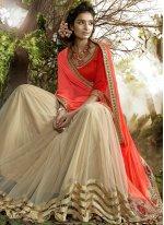 Beige and Orange Lace Work Lycra Designer Half N Half Saree