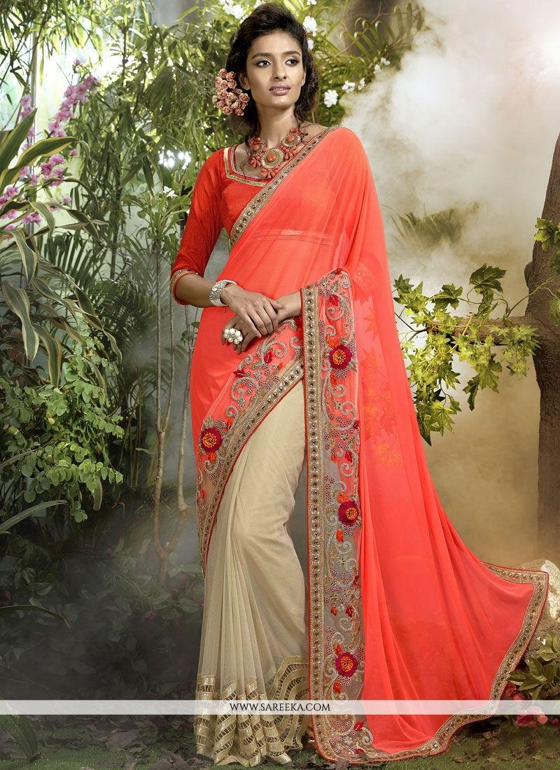 Beige and Orange Lace Work Lycra Designer Half N Half Saree