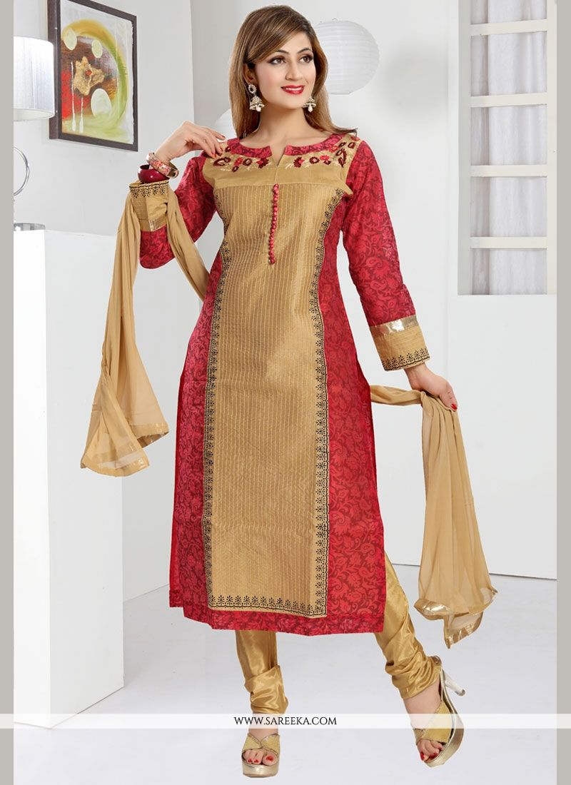 c84f21d9d72 Buy Beige and Red Art Silk Readymade Churidar Suit Online   New Zealand -