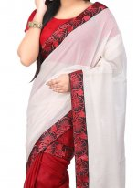 Beige and Red Designer Half N Half Saree
