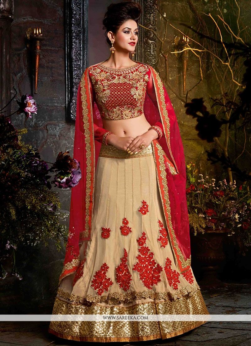 Beige and Red Resham Work Lehenga Choli