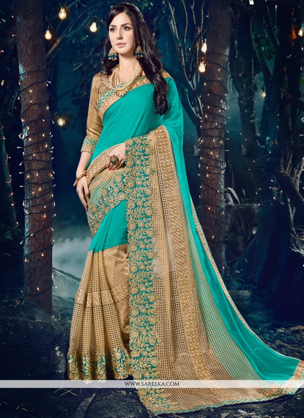 Beige and Turquoise Embroidered Work Faux Chiffon Classic Designer Saree