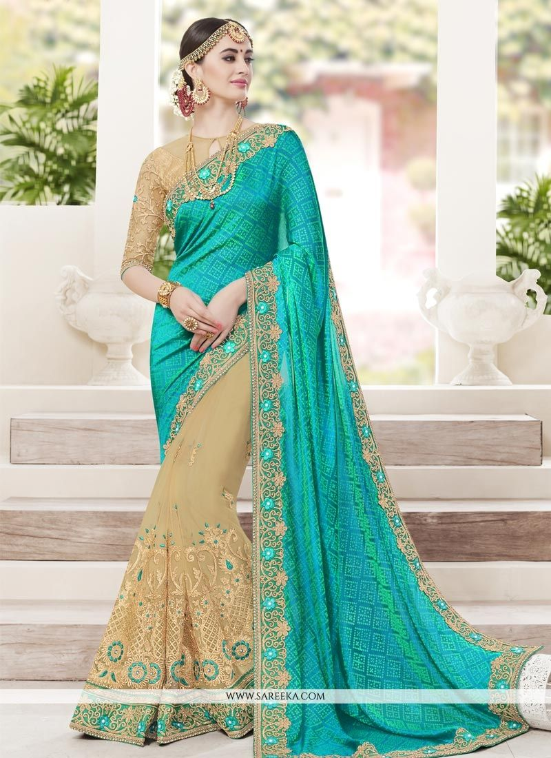 Beige and Turquoise Embroidered Work Jacquard Silk Half N Half Designer Saree