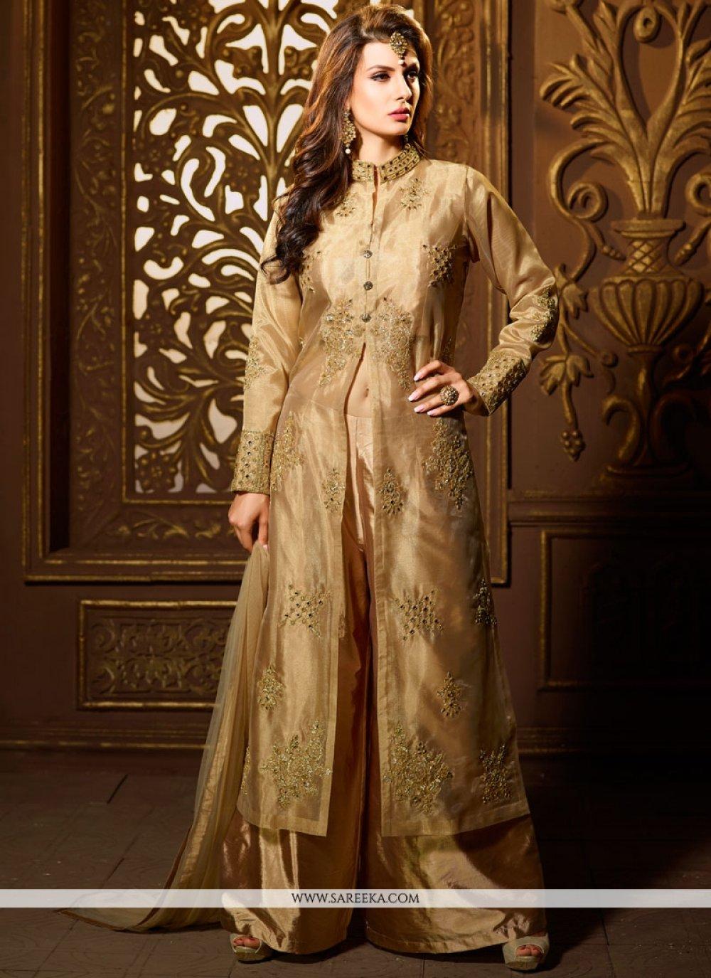 Beige Art Silk Readymade Suit
