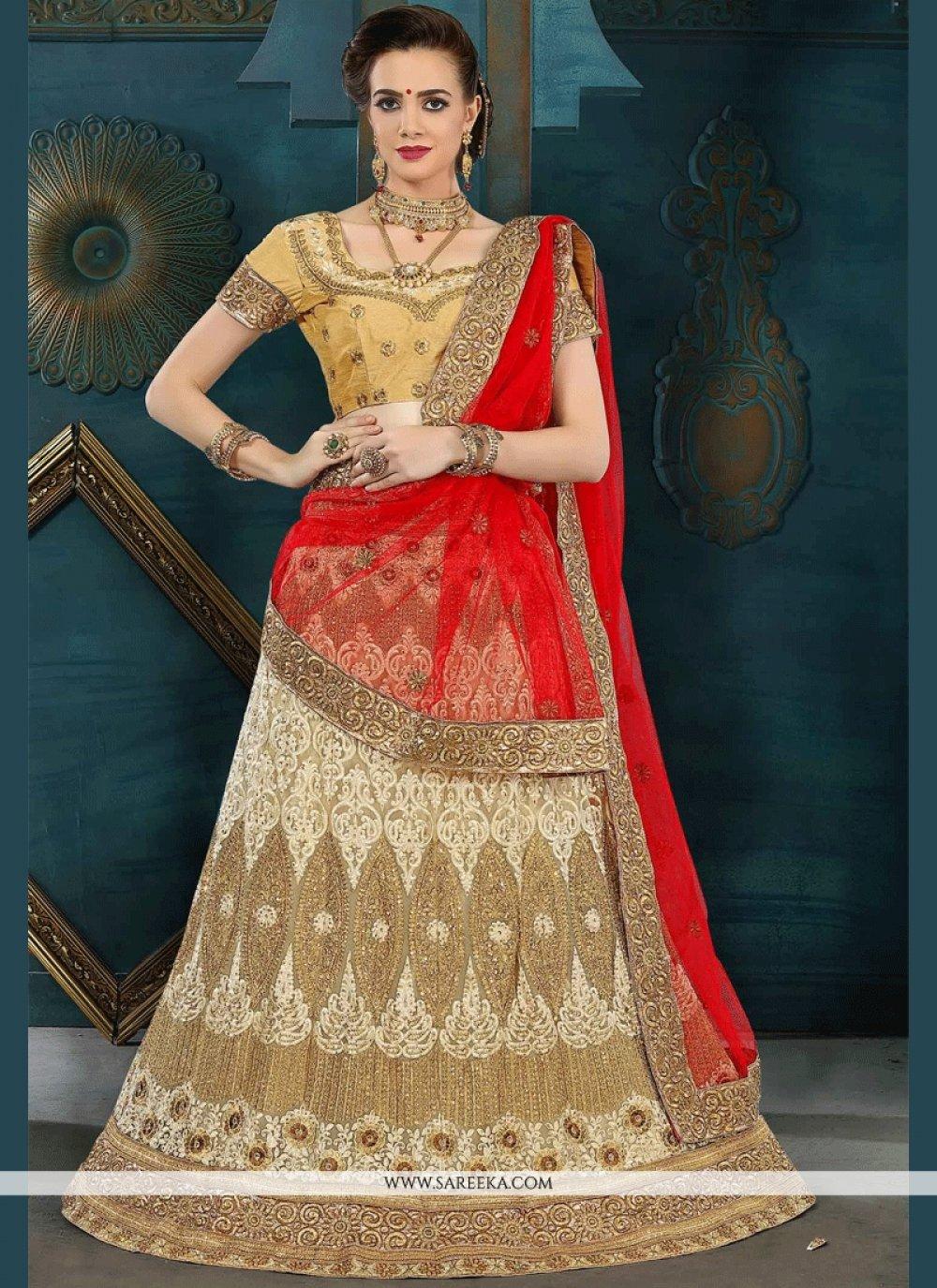 Beige Embroidered Work Lehenga Choli