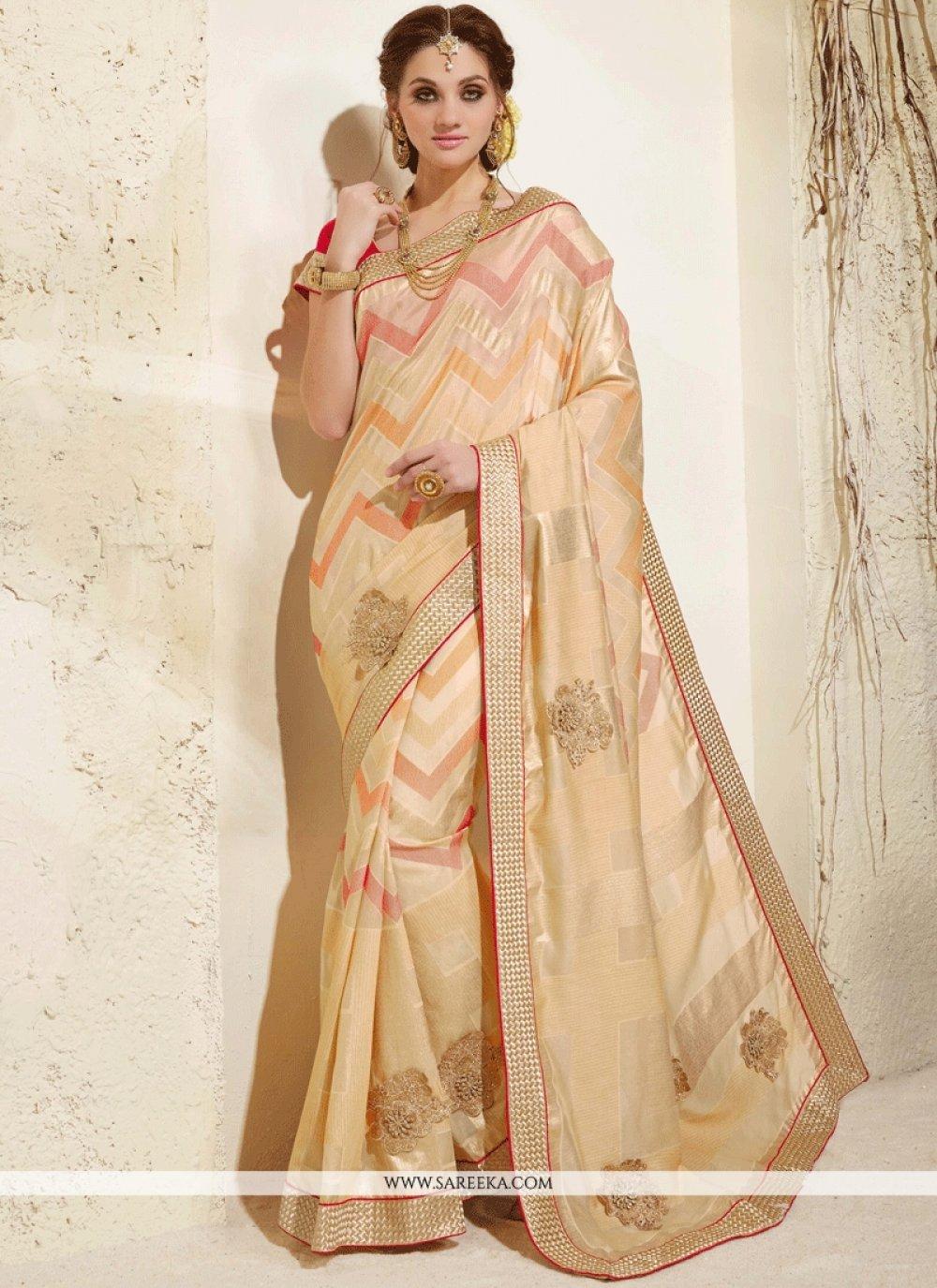 Beige Fancy Fabric Classic Designer Saree