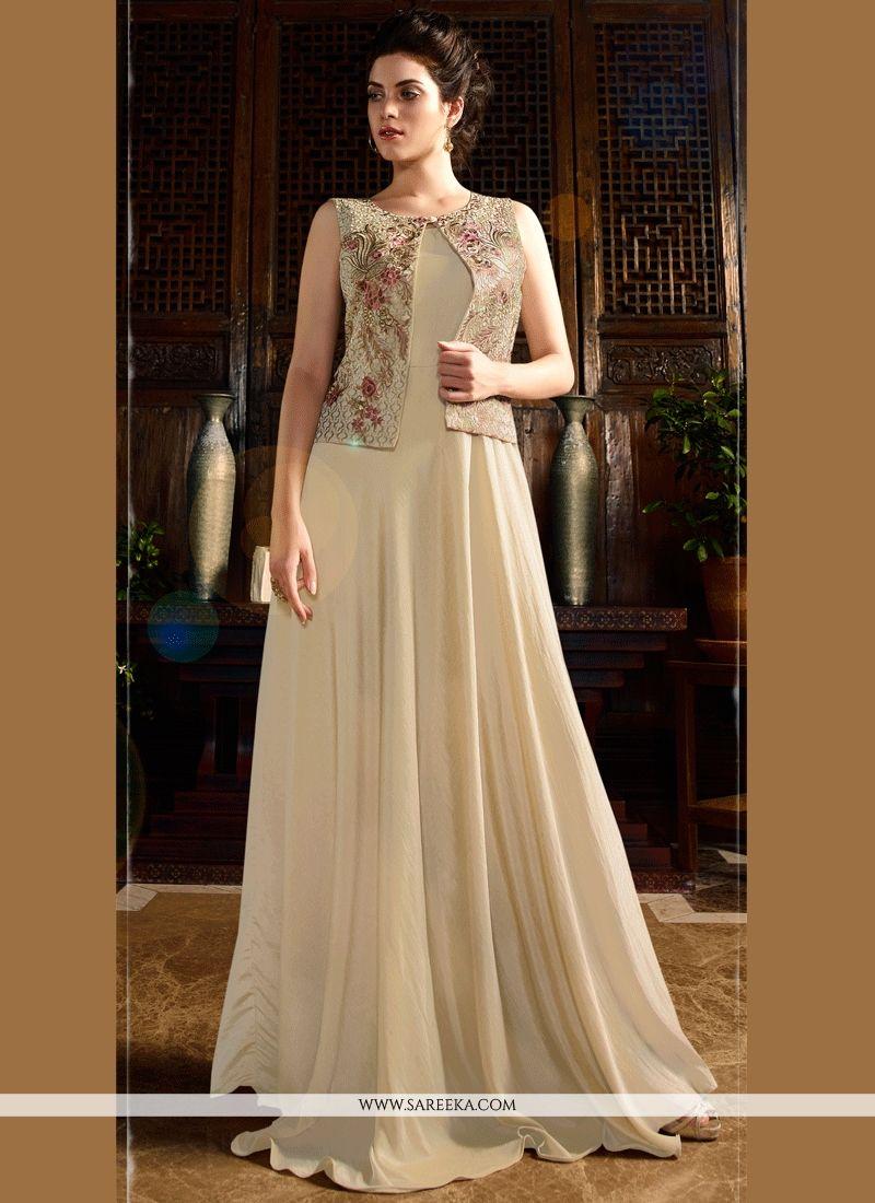 Buy Beige Satin Silk Resham Work Designer Gown Online : Malaysia -