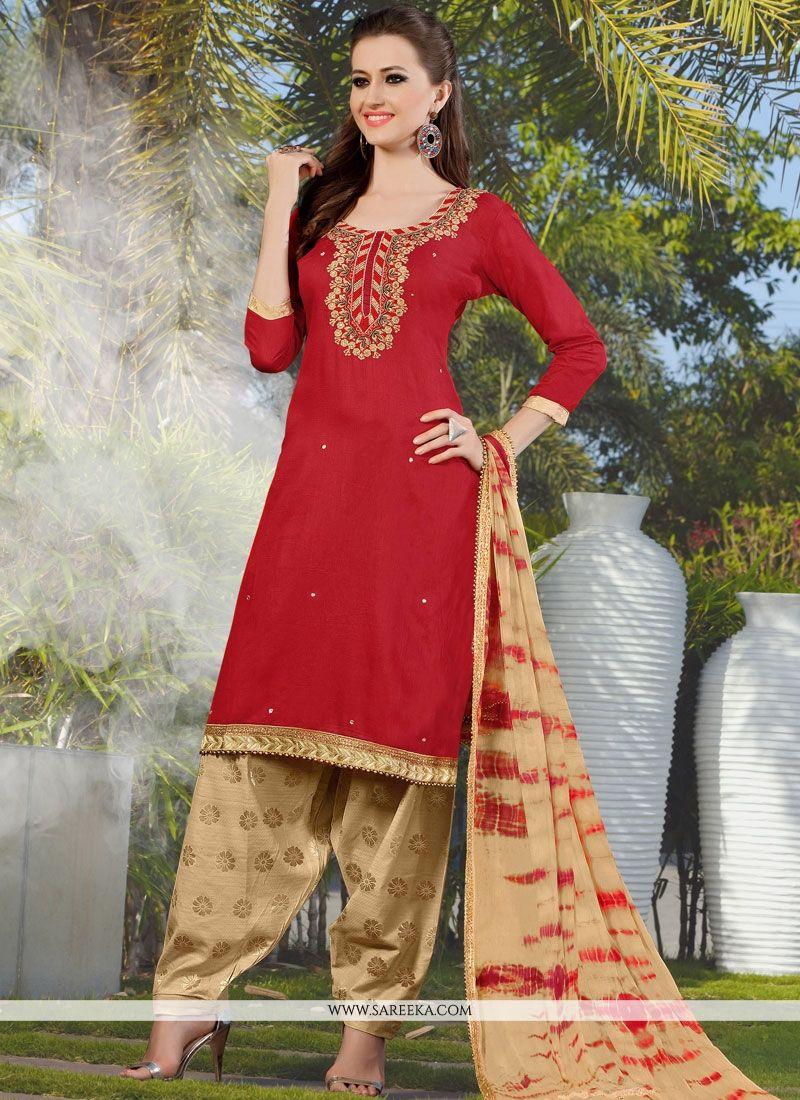 Lace Work Cotton   Red Punjabi Suit