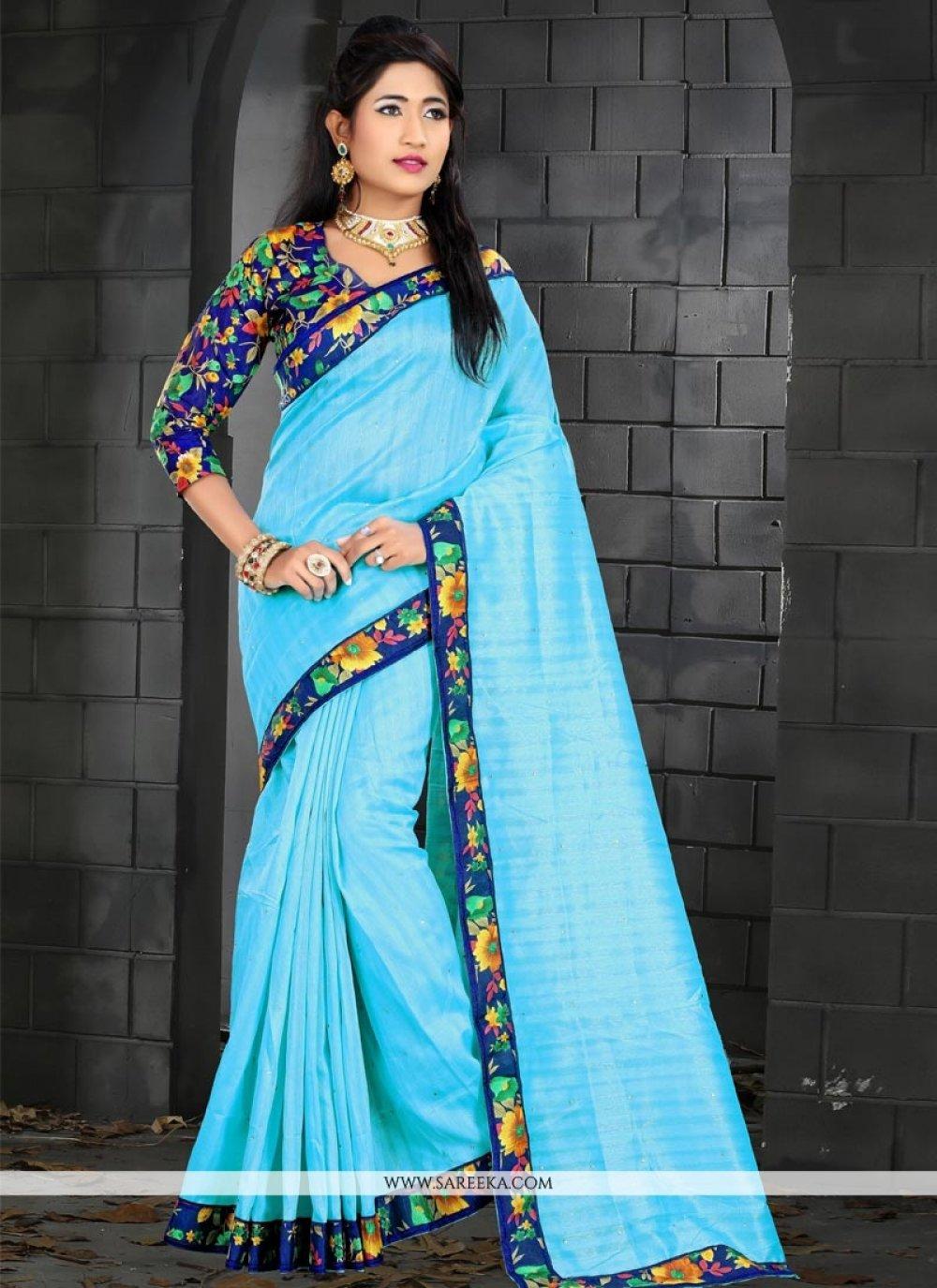Bhagalpuri Silk Blue Traditional  Saree