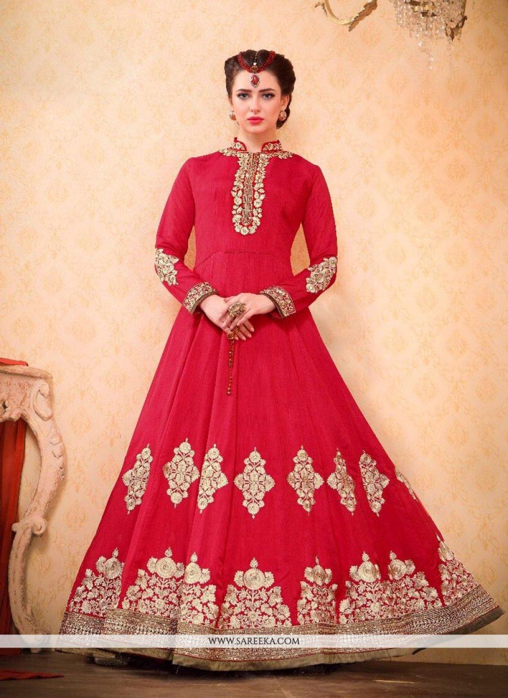 Bhagalpuri Silk Floor Length Anarkali Suit