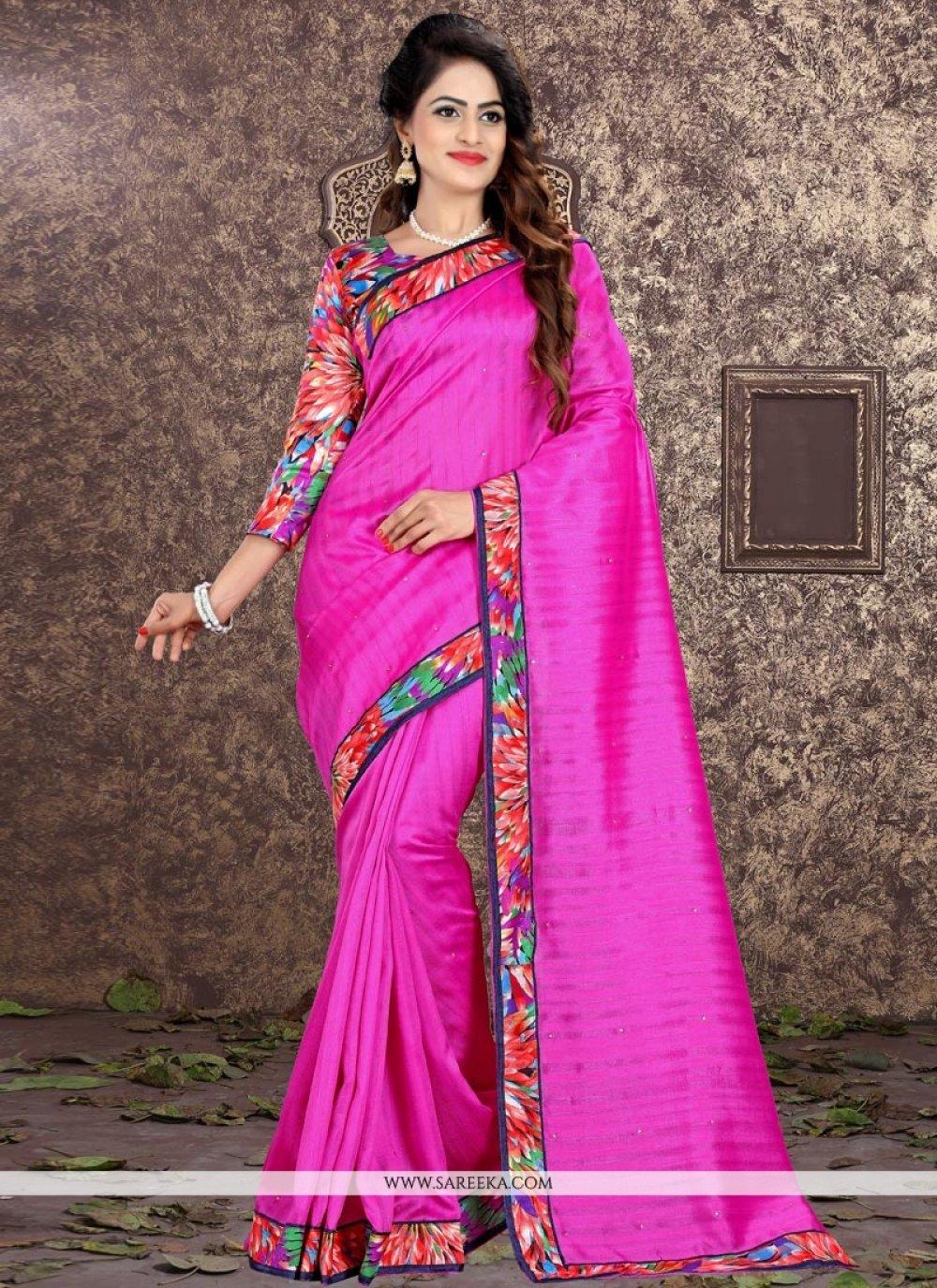 Bhagalpuri Silk Hot Pink Patch Border Work Traditional  Saree