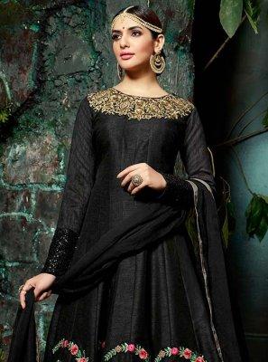Black Art Silk Floor Length Anarkali Suit