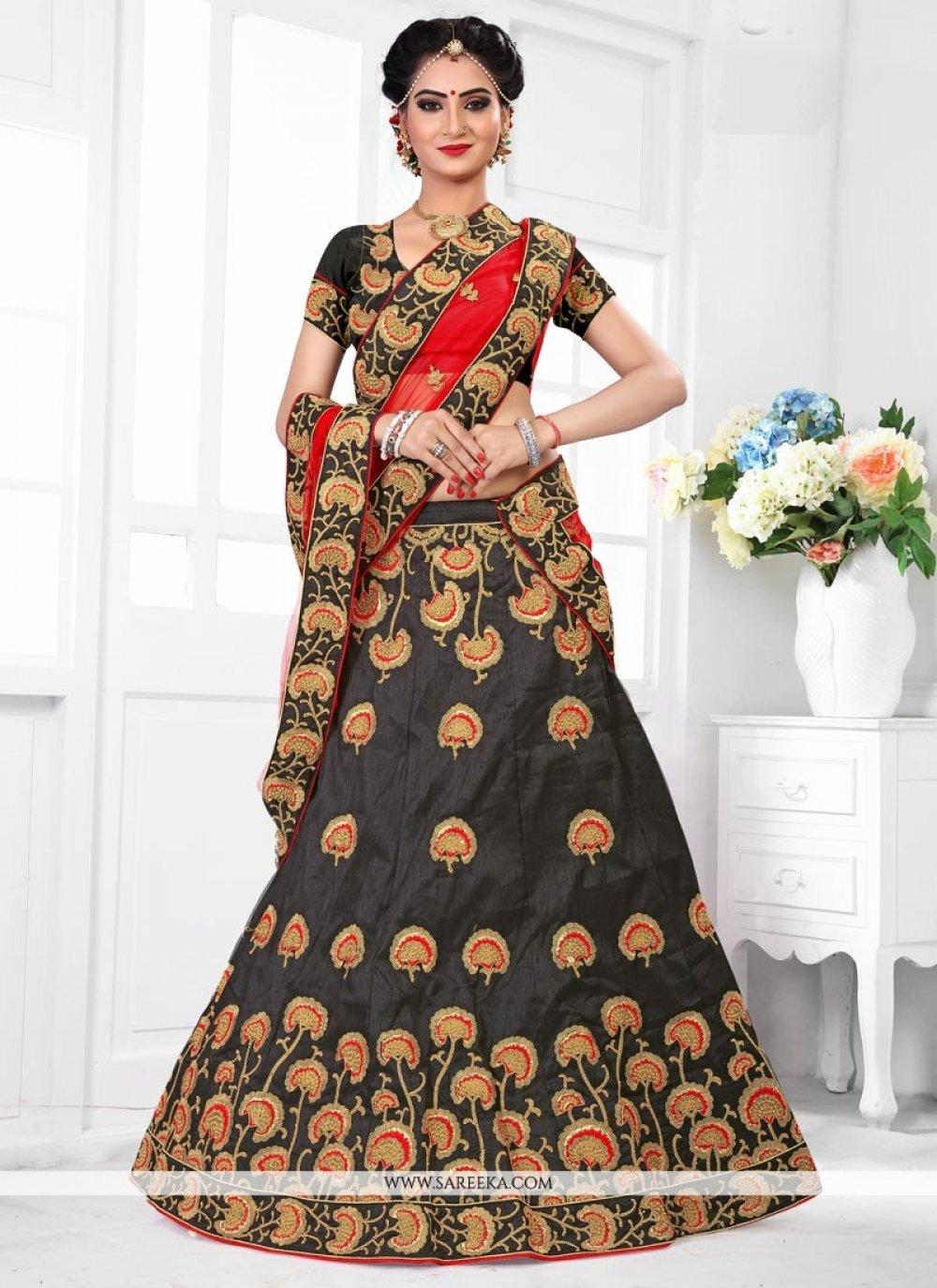 Black Art Silk Lehenga Choli