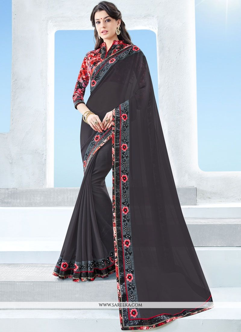 Black Embroidered Work Faux Georgette Classic Saree