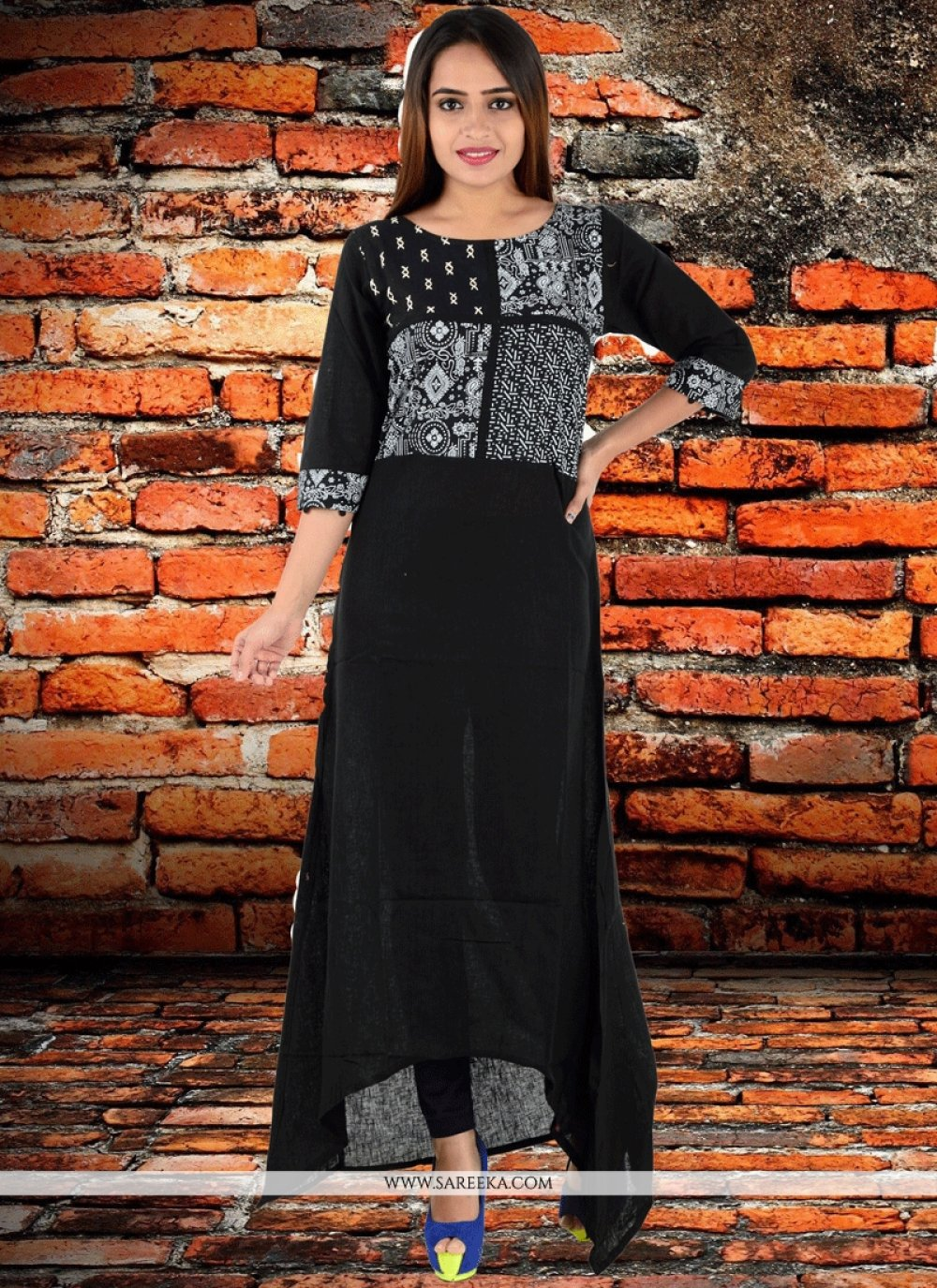 Black Embroidered Work Linen Party Wear Kurti