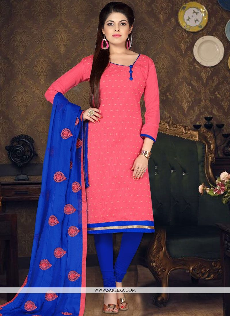 Embroidered Work Chanderi Cotton Rose Pink Churidar Suit