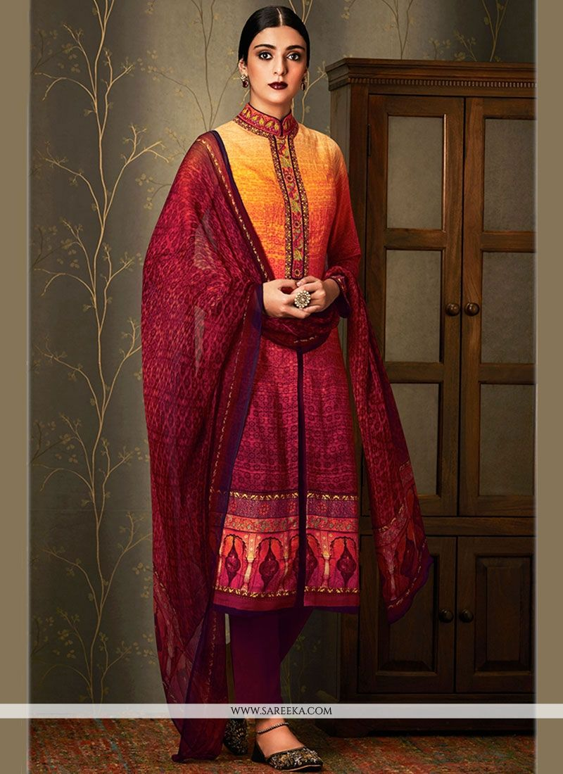 Embroidered Work Cotton   Multi Colour Pant Style Suit