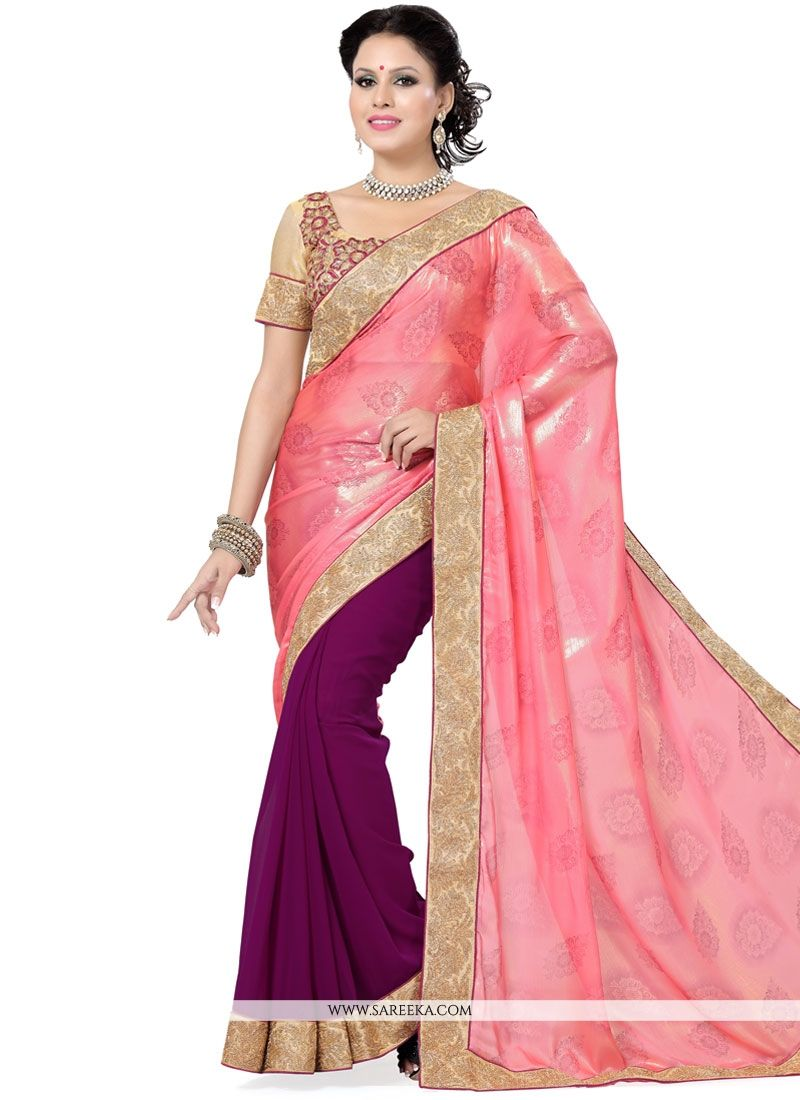 Faux Georgette Patch Border Work Half N Half  Saree