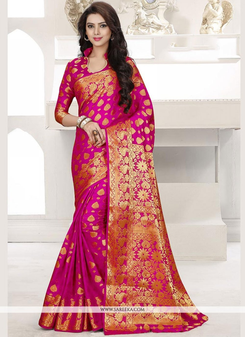 Hot Pink Weaving Work Traditional Designer Saree
