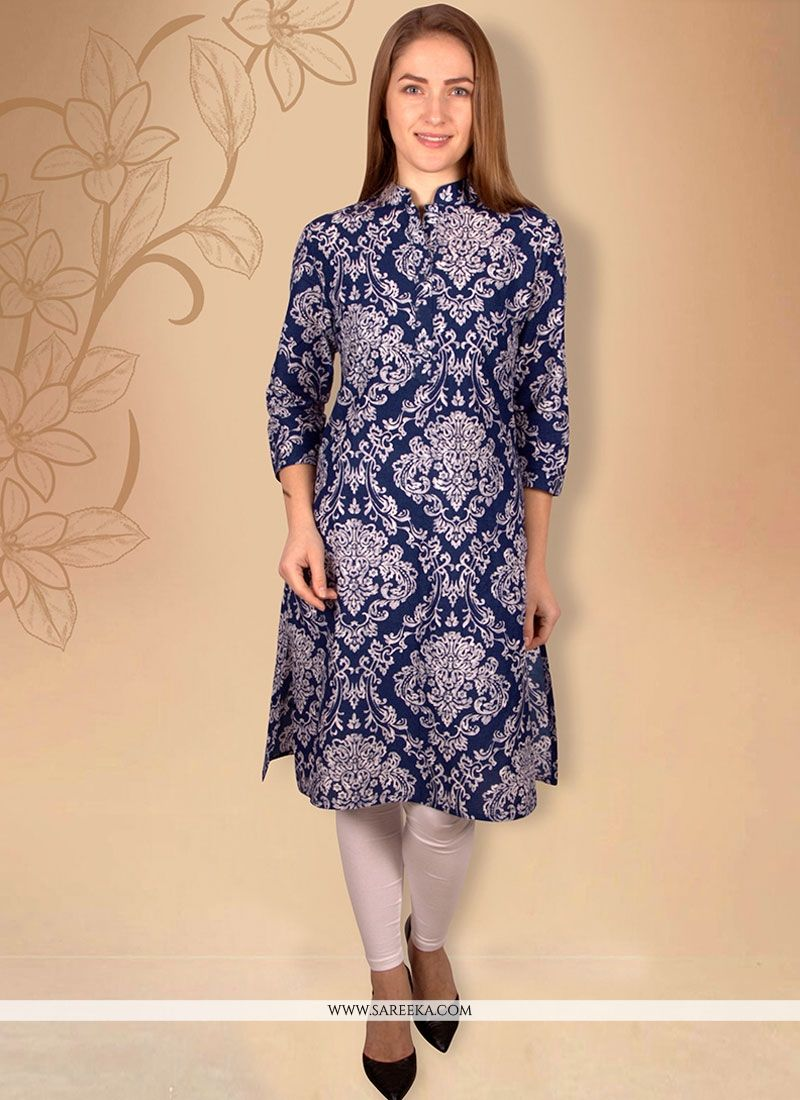 Print Work Cotton   Blue Casual Kurti