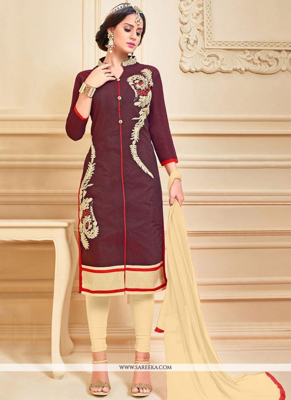 Brown Embroidered Work Churidar Suit