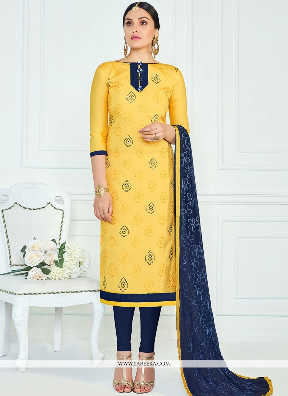 Cotton   Navy Blue and Yellow Churidar Suit