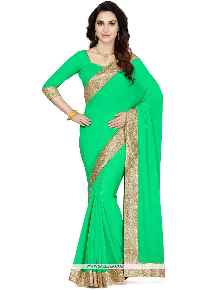 Faux Georgette Sea Green Patch Border Work Saree