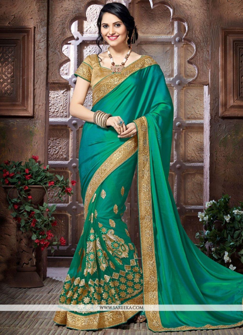 Sea Green Zari Work Crepe Silk Designer Traditional Saree