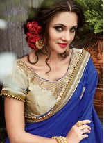 Blue and Cream Art Silk Half N Half Designer Saree