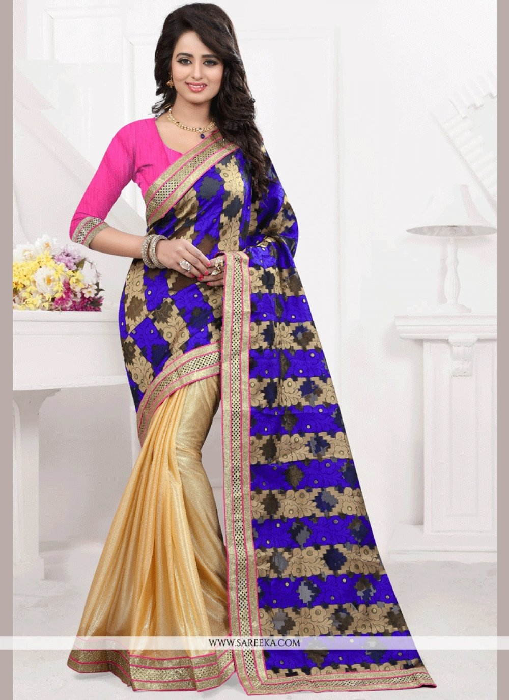 Blue and Gold Patch Border Work Tussar Silk Designer Half N Half Saree