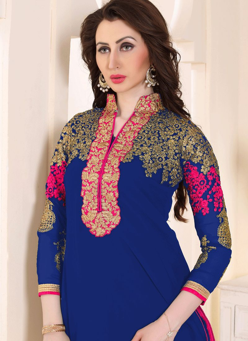 748f647e2f Buy Blue and Hot Pink Faux Georgette Punjabi Suit : 63135 -