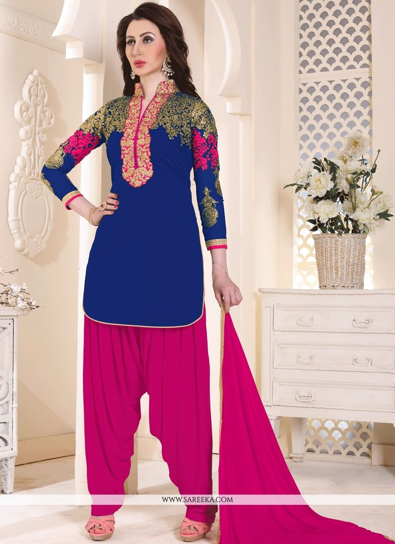 Blue And Hot Pink Faux Georgette Punjabi Suit