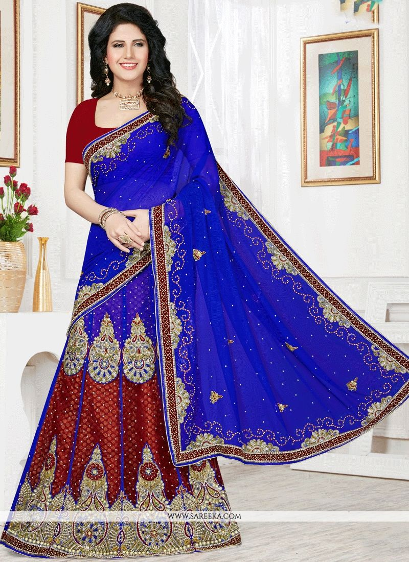 Blue and Maroon Resham Work Faux Chiffon Lehenga Saree