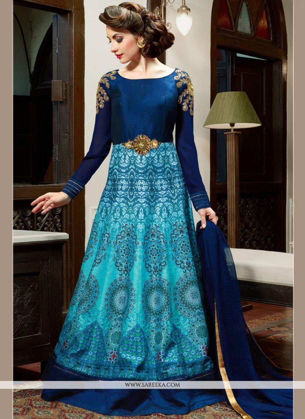 Blue Art Silk Floor Length Anarkali Salwar Suit